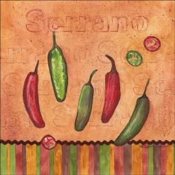 Fiesta Peppers - Serrano by Sara Mullen Ceramic Tile Mural - SM121AT