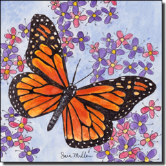 "Mullen Butterfly Art Ceramic Accent Tile 6"" x 6"" - SM123AT"