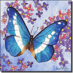"Mullen Butterfly Art Ceramic Accent Tile 6"" x 6"" - SM124AT"