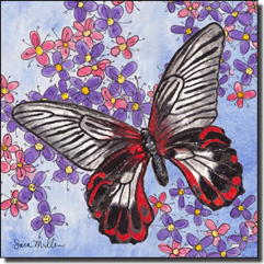 "Mullen Butterfly Art Ceramic Accent Tile 6"" x 6"" - SM125AT"