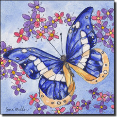 "Mullen Butterfly Art Ceramic Accent Tile 6"" x 6"" - SM126AT"