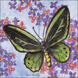 Butterfly Gathering V by Sara Mullen Ceramic Tile Mural - SM127