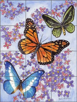 Mullen Butterfly Art Ceramic Tile Mural SM129