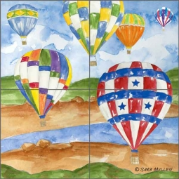 Hot Air 2 by Sara Mullen Ceramic Tile Mural SM133