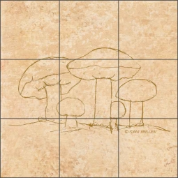 Mushroom Pattern 1 by Sara Mullen Ceramic Tile Mural - SM138