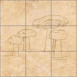 Mushroom Pattern 2 by Sara Mullen Ceramic Tile Mural - SM139