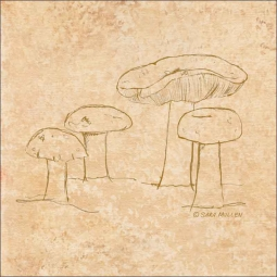 Mushroom Pattern 2 by Sara Mullen Ceramic Accent & Decor Tile - SM139AT