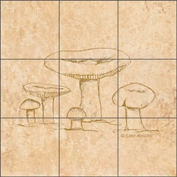 Mushroom Pattern 3 by Sara Mullen Ceramic Tile Mural - SM140