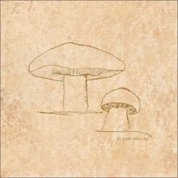 Mushroom Pattern 4 by Sara Mullen Ceramic Accent & Decor Tile - SM141AT