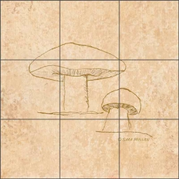 Mushroom Pattern 4 by Sara Mullen Ceramic Tile Mural - SM141
