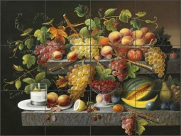 Still Life of Fruit by Severin Roesen Ceramic Tile Mural - SR001