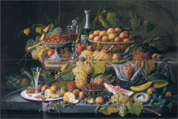 Still Life, Fruit by Severin Roesen Ceramic Tile Mural - SR002