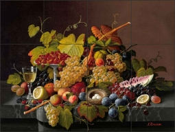 Still Life with Fruit and a Bird's Nest by Severin Roesen Ceramic Tile Mural - SR004