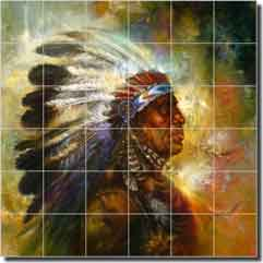 Dubois native american chief ceramic tile mural 36 x 36 for Native american tile designs