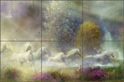 White Stallions by Tom duBois Ceramic Tile Mural - TDA009-2