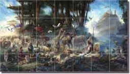"The Gathering by Tom duBois - Religious Ceramic Tile Mural 29.75"" x 17"""