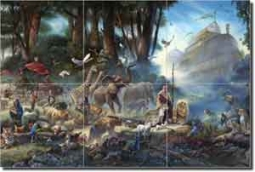 "The Gathering by Tom duBois - Religious Ceramic Tile Mural 18"" x 12"""