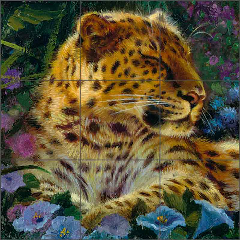 Sleeping Leopard by Tom duBois Ceramic Tile Mural - TDA023