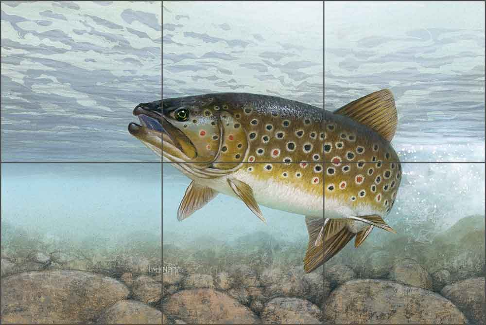 Brook Trout by Tim Knepp Ceramic Tile Mural - TKA001