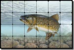 "Knepp Brook Trout Fish Tumbled Marble Tile Mural 24"" x 16"" - TKA001"