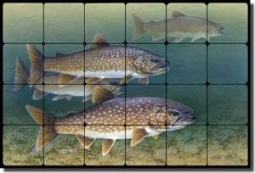 "Knepp Trout Fish Tumbled Marble Tile Mural 24"" x 16"" - TKA004"