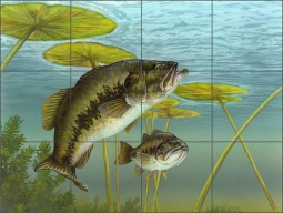 Largemouth Bass by Tim Knepp Ceramic Tile Mural - TKA005