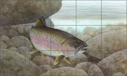 Rainbow Trout by Tim Knepp Ceramic Tile Mural - TKA008
