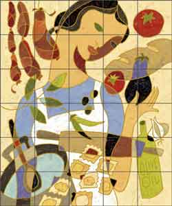 "O'Very Covey Pasta Kitchen Ceramic Tile Mural 21.25"" x 25.5"" - TOC001"