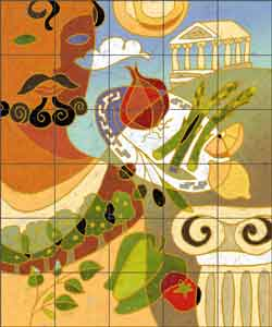 "O'Very Covey Mediterranean Kitchen Ceramic Tile Mural 21.25"" x 25.5"" - TOC002"
