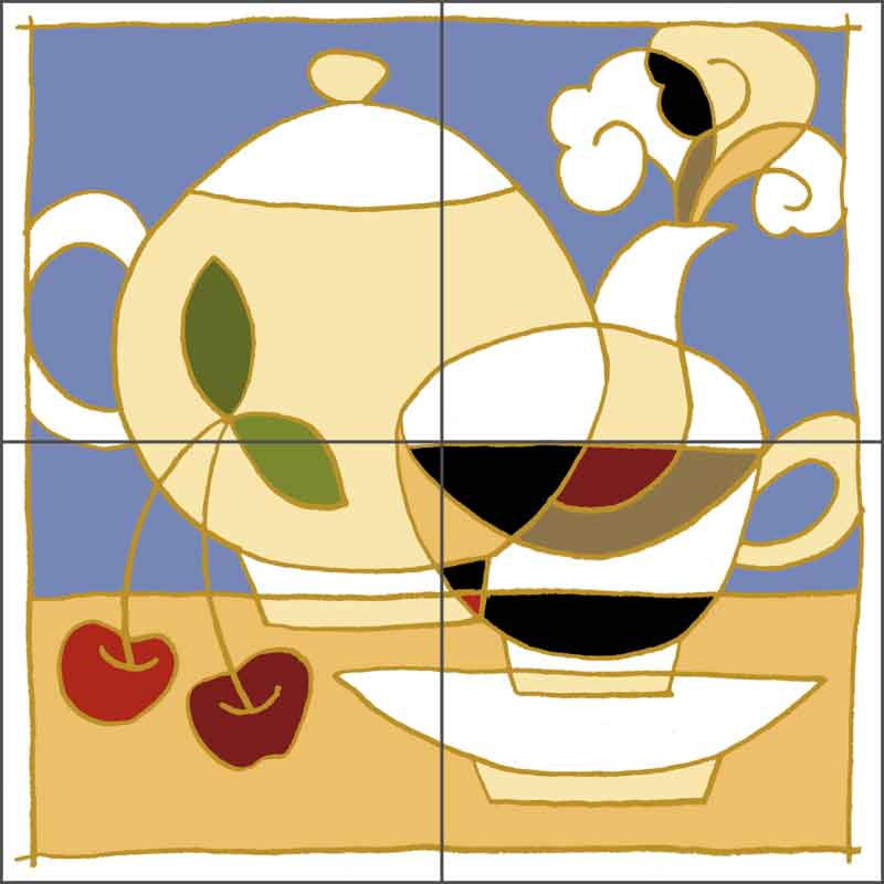 Cup, Pot and Cherries by Traci O'Very Covey Ceramic Tile Mural - TOC004