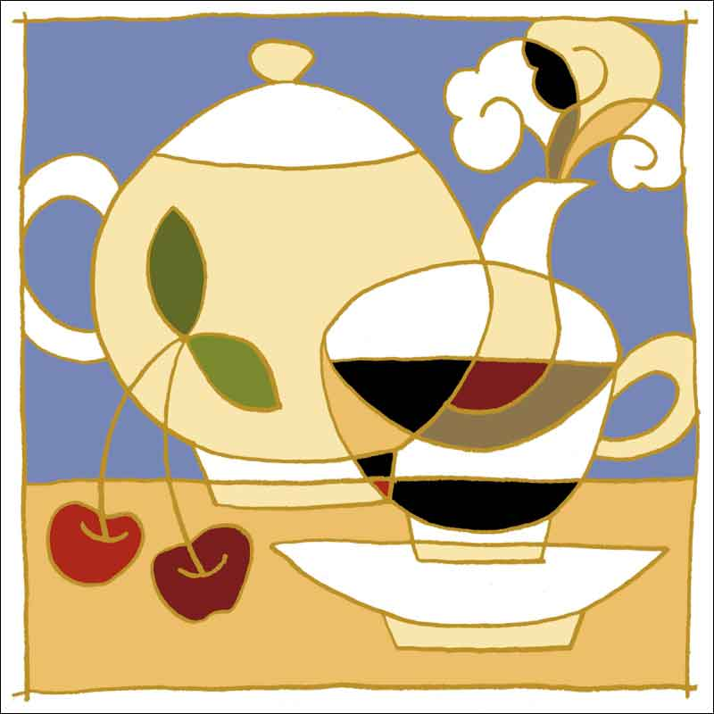 Cup, Pot and Cherries by Traci O'Very Covey Ceramic Accent & Decor Tile - TOC004AT