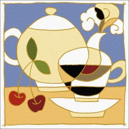 Cup, Pot and Cherries by Traci O'Very Covey Floor Accent Tile - TOC004AT