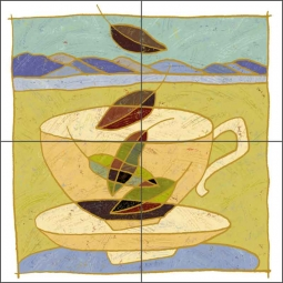 Landscape Cup by Traci O'Very Covey Ceramic Tile Mural - TOC006