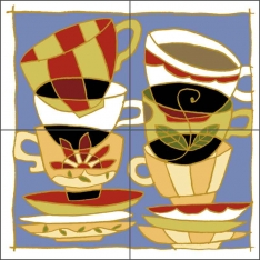 Stacked Cups by Traci O'Very Covey Ceramic Tile Mural - TOC007