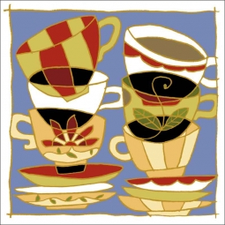 Stacked Cups by Traci O'Very Covey Ceramic Accent & Decor Tile - TOC007AT