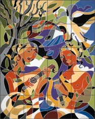 Lute by Traci O'Very Covey Ceramic Tile Mural TOC010