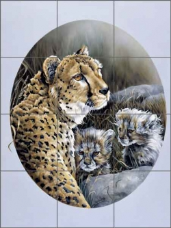 Cheetah Twins by Verdayle Forget Ceramic Tile Mural - VFA013