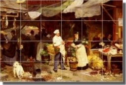 "The Maubeauge Market by Victor Gabriel Gilbert - Old World Tumbled Marble Tile Mural 16"" x 24"" Kitch"