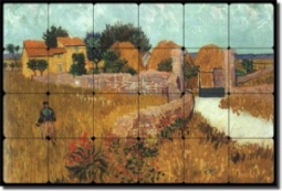 "Farmhouse in Provence by Vincent van Gogh - Old World Tumbled Marble Tile Mural 16"" x 24"" Kitchen Sh"