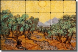 "The Olive Trees by Vincent van Gogh - Old World Tumbled Marble Tile Mural 16"" x 24"" Kitchen Shower B"