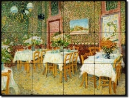 "Interior of a Restaurant by Vincent van Gogh - Old World Tumbled Marble Tile Mural 18"" x 24"" Kitchen"