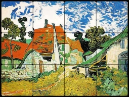Village Street in Auvers by Vincent van Gogh Tumbled Marble Tile Mural VVG006