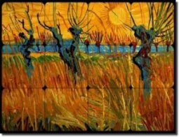 "Willows at Sunset by Vincent van Gogh - Landscape Tumbled Marble Tile Mural 12"" x 16"" Kitchen Shower"