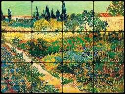 Garden with Flowers II by Vincent van Gogh Tumbled Marble Tile Mural VVG008