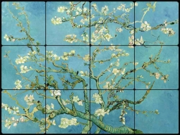 Almond Blossoms by Vincent van Gogh Tumbled Marble Tile Mural VVG010