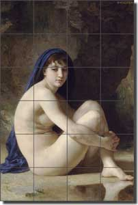 "Bouguereau Old World Nude Ceramic Tile Mural 24"" x 36"" - WB2001"