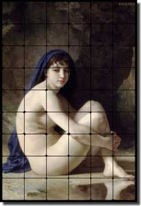 "Bouguereau Old World Nude Tumbled Marble Tile Mural 24"" x 36"" 4"" - WB2001"