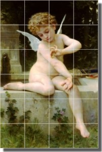 "Cupid with a Butterfly by William Bouguereau - Artwork On Tile Ceramic Mural 25.5"" x 17"" Kitchen Sho"