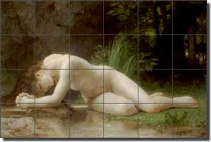 "Bouguereau Old World Nude Ceramic Tile Mural 25.5"" x 17"" - WB2053"