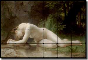 "Bouguereau Old World Nude Tumbled Marble Tile Mural 24"" x 16"" - WB2053"